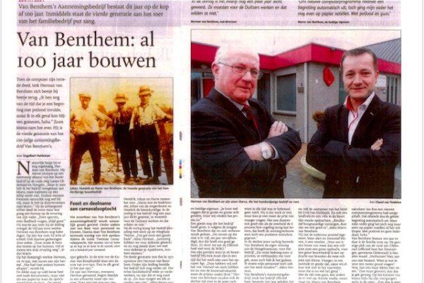 Krantenartikel 100 jarig bestaan in 2012